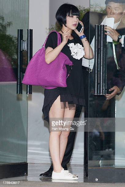 South Korean Amy arrives for wedding ceremony of Lee ByungHun and Rhee MinJung at the Hyatt Hotel on August 10 2013 in Seoul South Korea