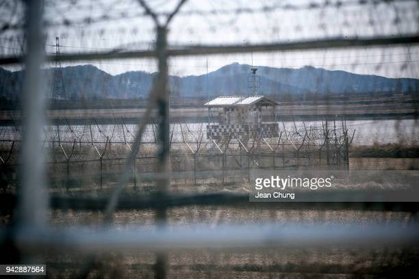 South Korean army post stands in the fortified Demilitarised Zone on April 7 2018 in Paju South Korea On April 27 South Korean President Moon Jaein...