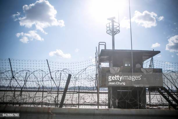 South Korean army post with a security camera stands in the fortified Demilitarised Zone on April 7 2018 in Paju South Korea On April 27 South Korean...