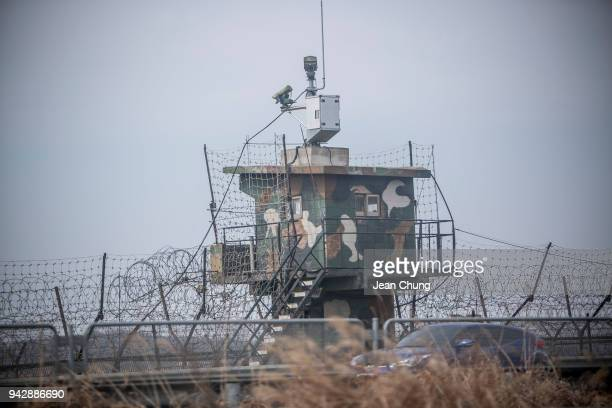 South Korean army post with security cameras stands in the fortified Demilitarised Zone on April 7 2018 in Paju South Korea On April 27 South Korean...