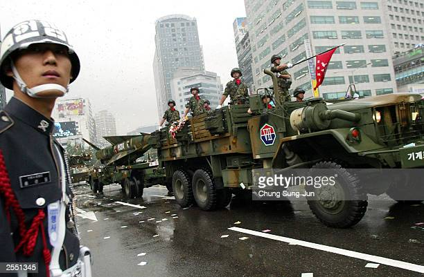 South Korean Army soldiers and vehicles parade during the 55th Armed Forces Day ceremony through the streets October 1 2003 in Seoul South Korea...