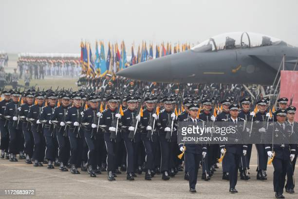 South Korean Army soldiers participate in the 71st anniversary of Armed Forces Day at the Military Air Base in Daegu on October 1 2019