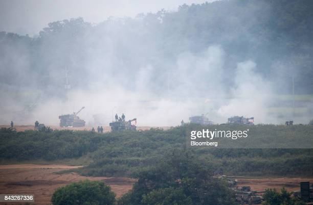 South Korean army tanks participate at a military drill near the border in Paju South Korea on Wednesday Sept 6 2017 South Korean President Moon...