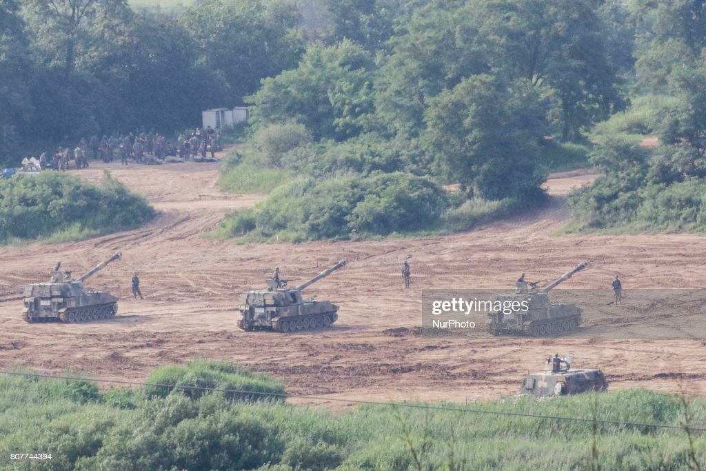 South Korean army's K-9 self-propelled howitzers move during an annual exercise in Paju, near the border with North Korea, South Korea, Tuesday, July 4, 2017. North Korea claimed to have tested its first intercontinental ballistic missile in a launch Tuesday, a potential game-changing development in its push to militarily challenge Washington ? but a declaration that conflicts with earlier South Korean and U.S. assessments that it had an intermediate range.