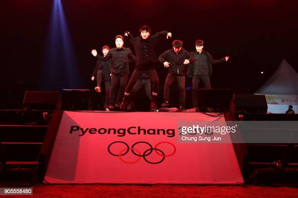 South Korean artists perform on stage during the PyeongChang 2018 Winter Olympic Games torch relay on January 16 2018 in Seoul South Korea
