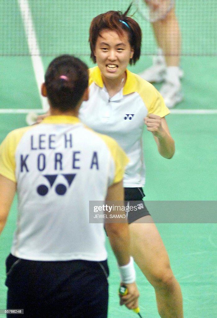 South Korean badminton players Jung Hyo Lee and Won Kyung