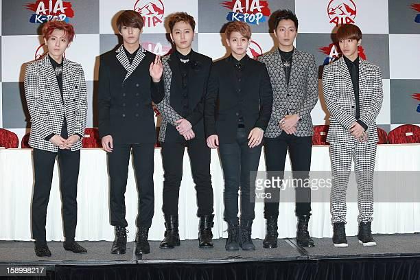 South Korean boy band Beast attend AIA KPOP Live in Hong Kong press conference at AsiaWorldExpo on January 5 2013 in Hong Kong Hong Kong