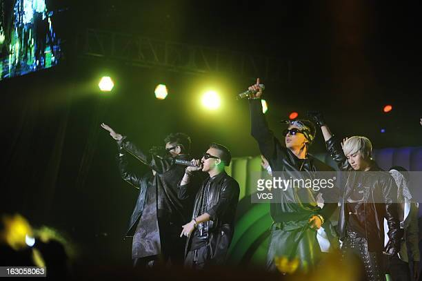 South Korean boy band BigBang perform on the stage in concert at Nanjing Olympic Sports Center on March 2 2013 in Nanjing China