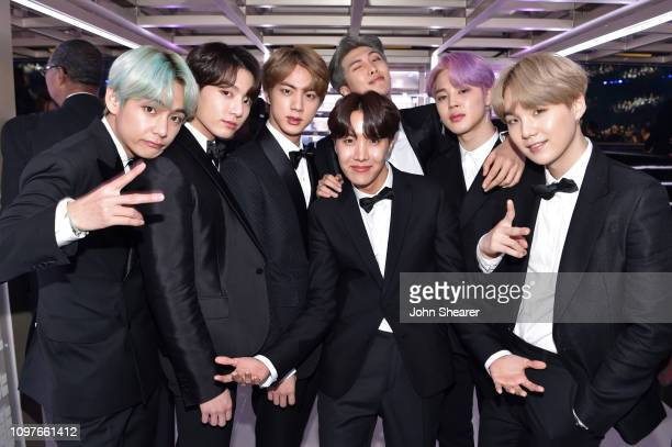 South Korean boy band BTS backstage during the 61st Annual GRAMMY Awards at Staples Center on February 10, 2019 in Los Angeles, California.