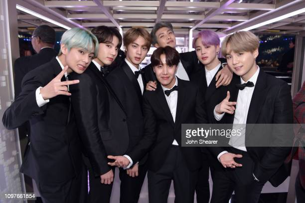 South Korean boy band BTS backstage during the 61st Annual GRAMMY Awards at Staples Center on February 10 2019 in Los Angeles California