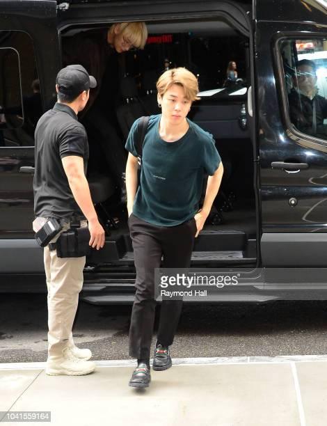 South Korean Boy band BTS is seen walking in Midtown Manhattan on September 26, 2018 in New York City.