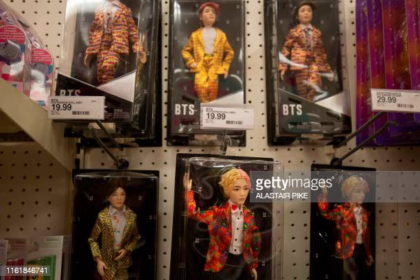 South Korean boy band BTS toy dolls made in China are seen at a store in Washington DC on August 15 2019