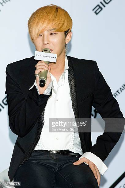 South Korean boy band GDragon of Big Bang attends the Hyundai Card Collaboration With YG Entertainment at Hyundai Card headquarters on June 5 2012 in...