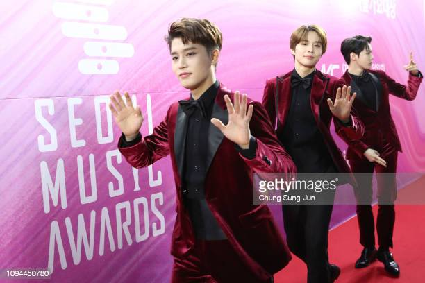 South Korean boy band NCT 127 attend the Seoul Music Awards on January 15 2019 in Seoul South Korea