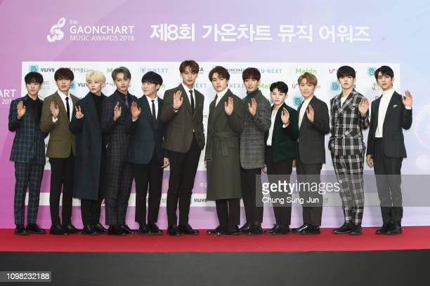 South Korean boy band SEVENTEEN attends the 8th Gaon Chart K-Pop Awards on January 23, 2019 in Seoul, South Korea.