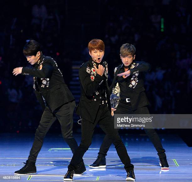 South Korean boy band Shinhwa perform onstage during KCON 2015 at the Staples Center on August 2 2015 in Los Angeles California KCON is an annual...