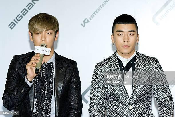South Korean boy band TOP and Seungri of Big Bang attend the Hyundai Card Collaboration With YG Entertainment at Hyundai Card headquarters on June 5...