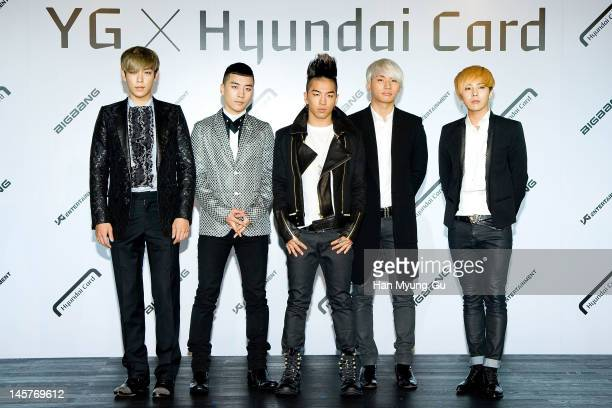 South Korean boy band TOP Seungri Taeyang Daesung and GDragon of Big Bang attend the Hyundai Card Collaboration With YG Entertainment at Hyundai Card...