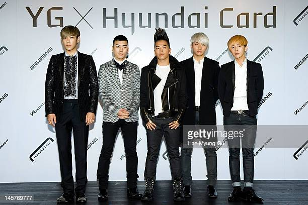 South Korean boy band TOPSeungriTaeyangDaesung and GDragon of Big Bang attend the Hyundai Card Collaboration With YG Entertainment at Hyundai Card...