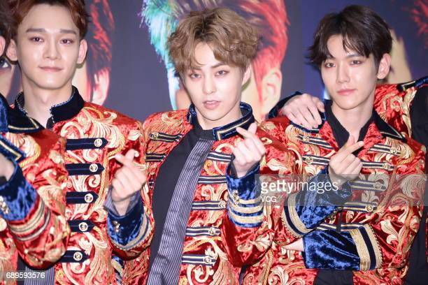 South Korean boy group Exo attend the press conference of Exo Planet The EXO'rDIUM at Jamsil Stadium Main Stadium on May 28 2017 in Seoul South Korea
