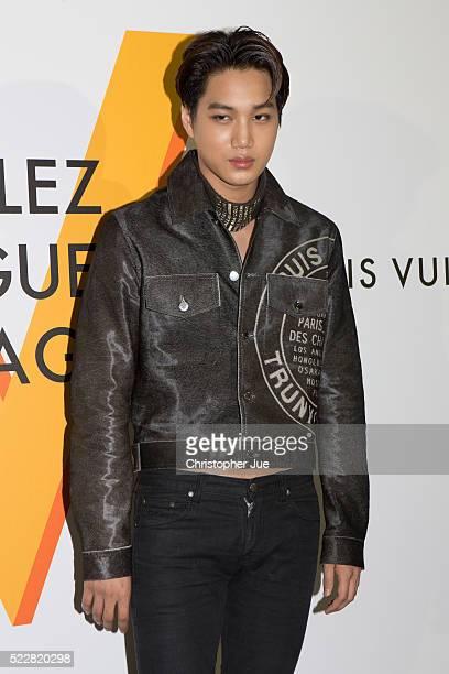 South Korean boy group EXO member Kai attends the Louis Vuitton Exhibition Volez Voguez Voyagez on April 21 2016 in Tokyo Japan