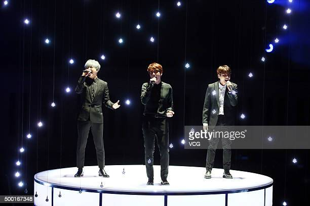 South Korean boy group KRY of group Super Junior perform onstage during their concert on December 5 2015 in Taipei Taiwan of China