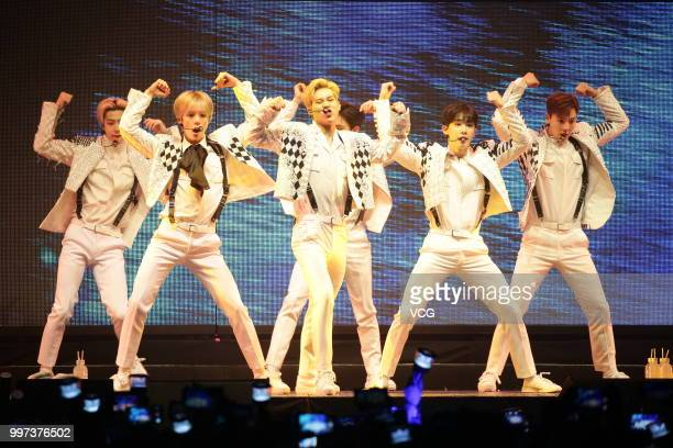 South Korean boy group Monsta X perform onstage during their world tour 'The Connect' on July 10 2018 in Hong Kong China