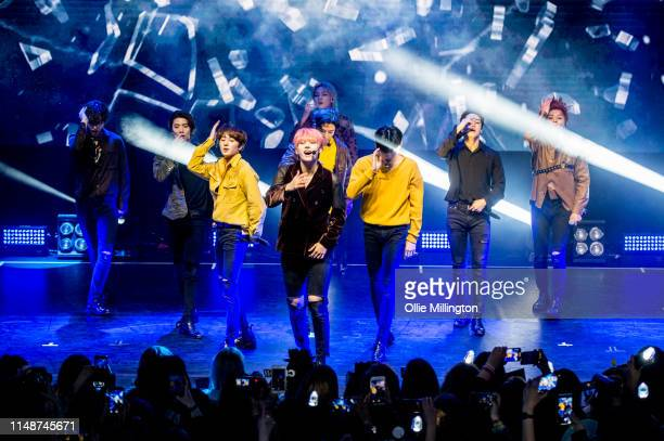 South Korean boy group SF9 including members Young Bin In Seong Jae Yoon Da Won Ro Woon Zu Ho Tae Yang Hwi Young and Cha Ni perform on stage at O2...