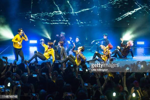 South Korean boy group SF9 including members Young Bin In Seong Jae Yoon Da Won Ro Woon Zu Ho Tae Yang Hwi Young and Cha Ni perform on stage at O2...