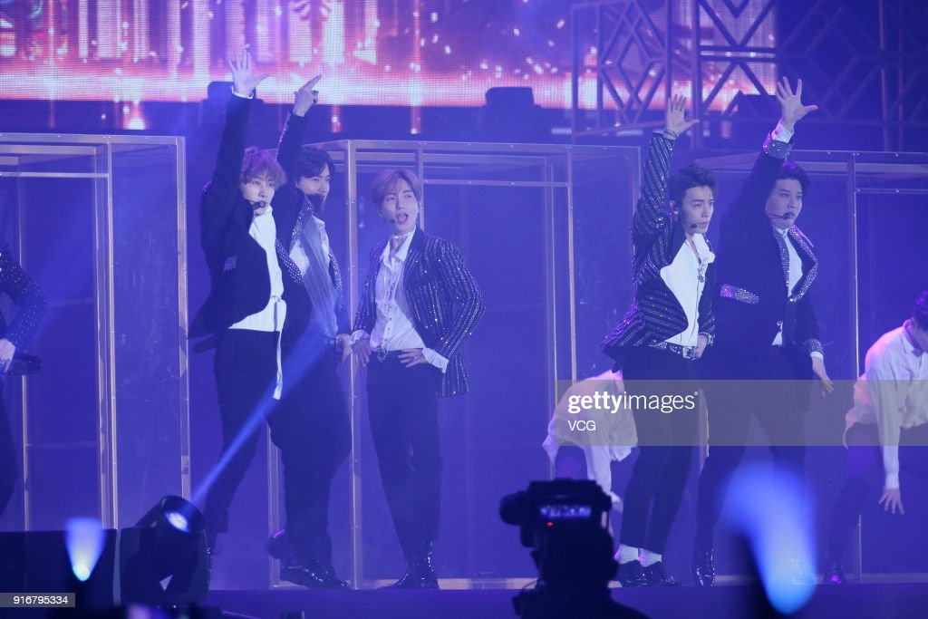 South Korean boy group Super Junior perform onstage during the Super
