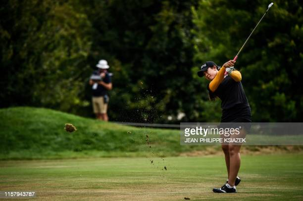 South Korean Chella Choi competes during the Evian golf Championships in the French Alps town of EvianlesBains a major tournament on the women's...