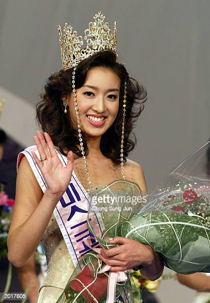 South Korean Choi YunYong waves after winning the 2003 Miss Korea beauty pageant May 21 2003 in Seoul South Korea Choi a 20yearold university student...