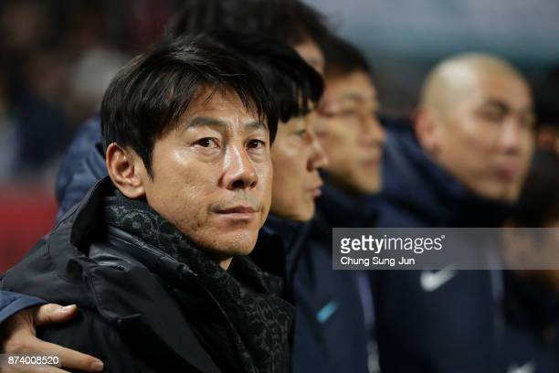 South Korean coach ShinTaeYong looks on during the international friendly match between South Korea and Serbia at Ulsan World Cup Stadium on November...