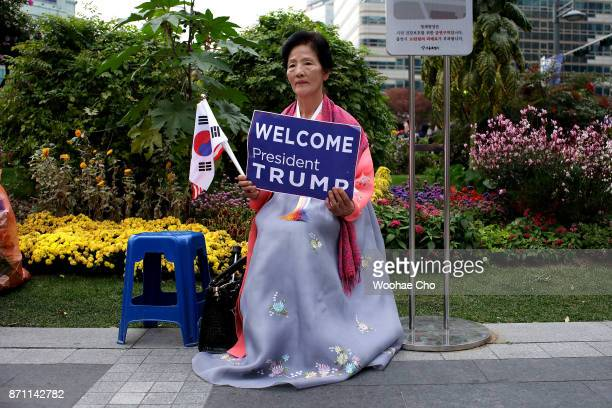 South Korean conservative takes part in a proTrump rally at the city center of Seoul November 7 2017 in South Korea Trump is in South Korea as a part...