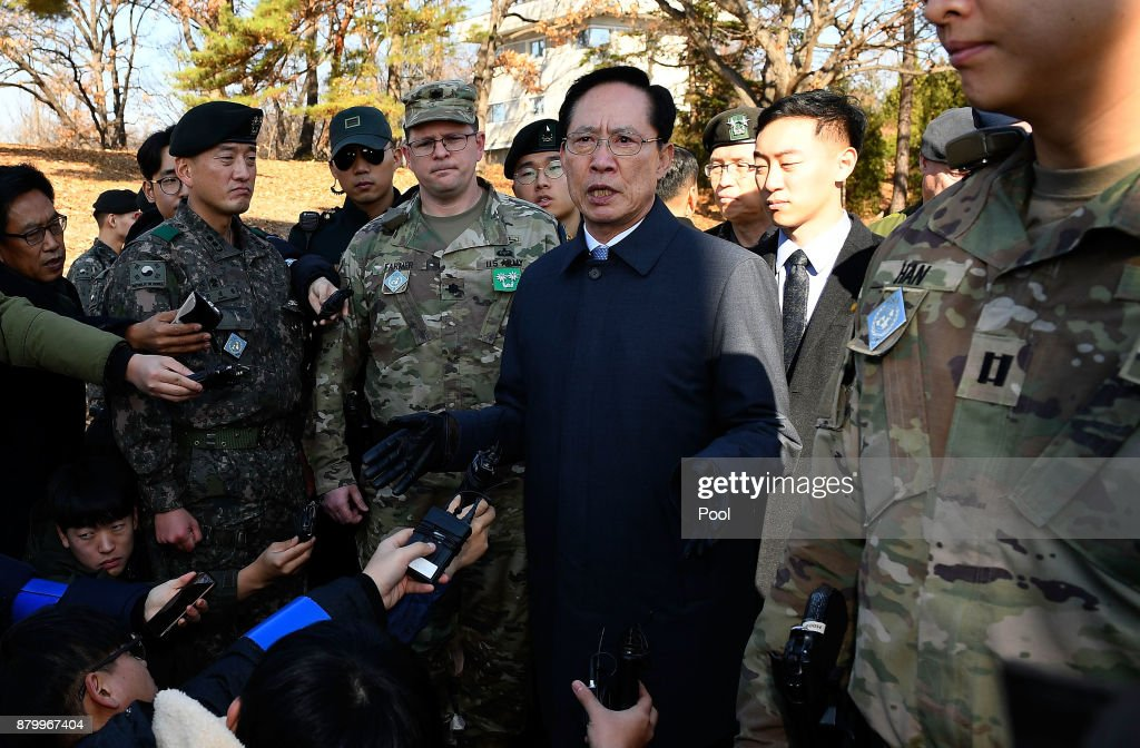 Defense Minister Inspects Panmunjom After North Korean Soldier Defected