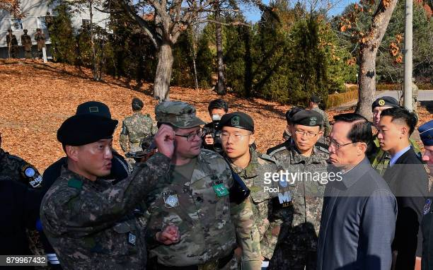 South Korean Defence Minister Song Youngmoo speaks as he visits a spot where a North Korean has defected crossing the border on November 27 2017 in...