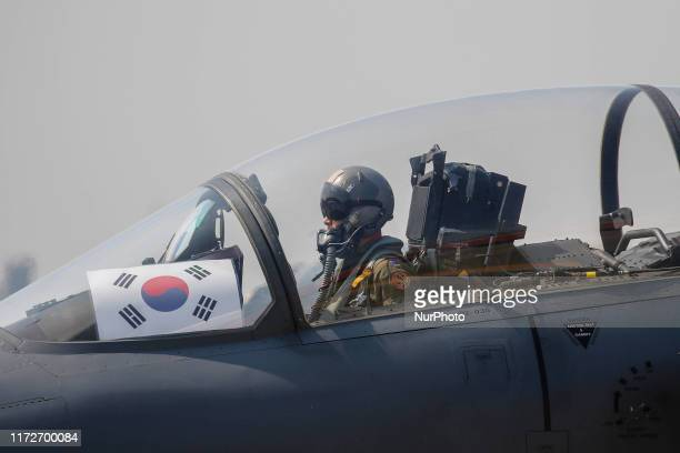 South Korean Defense Ministry Honor Guards Army Navy Airforce Marines attend the media day of the 71th South Korea Armed Forces Day ceremony on...