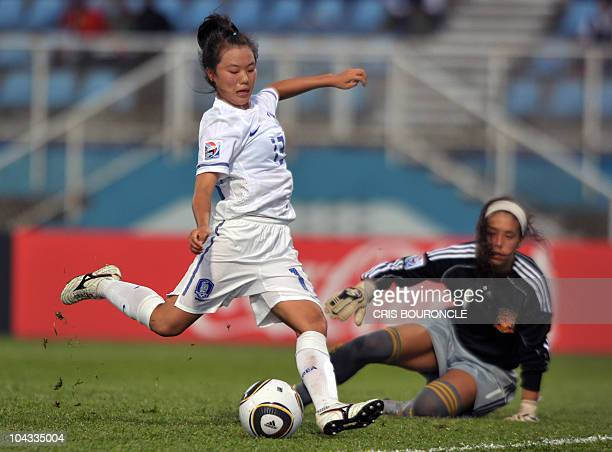 South Korean defense player Soojin Joo shoots to score her team's second goal overpassing Spanish goalkeper Dolores Gallardo during the FIFA Women's...