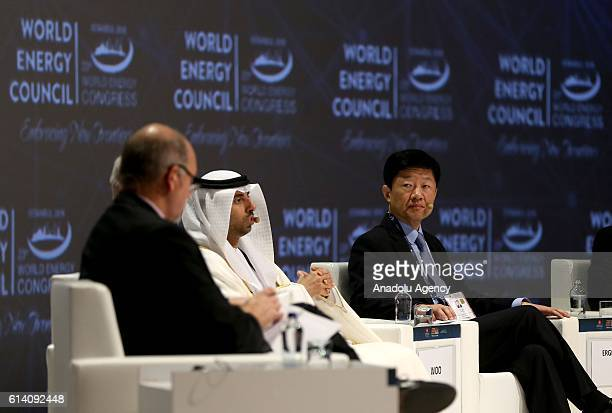 South Korean Deputy Trade Minister Tae Hee Woo and Minister of Energy in the United Arab Emirates Suhail Al Mazroui attend a session during the 23rd...
