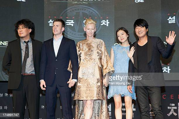 South Korean director Bong JoonHo actors Chris Evans Tilda Swinton Ko ASung and Song KangHo attend the 'Snowpiercer' South Korea premiere at Times...