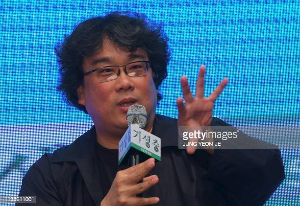 South Korean director Bong Joonho speaks during a press conference for his film Parasite in Seoul on April 22 2019 The film was selected to compete...