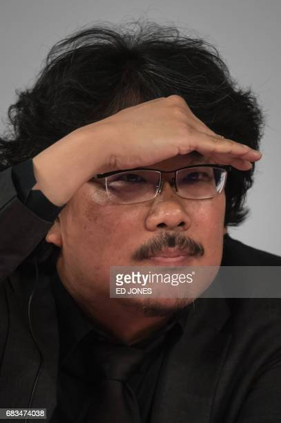South Korean director Bong JoonHo sttends a press conference in Seoul on May 16 2017 A top Netflix executive urged film festivals to change and...