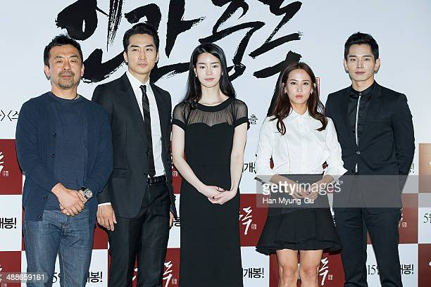 South Korean director Kim DaeWoo actors Song SeungHeon Lim JiYeon Cho YeoJeong and On JuWan attend the Obsessed press screening at the CGV on May 7...