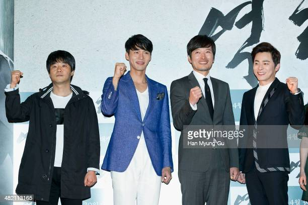 South Korean director Lee JaeKyu actors Hyun Bin Jeong JaeYeong Cho JungSeok attend the The Fatal Encounter press conference on April 2 2014 in Seoul...