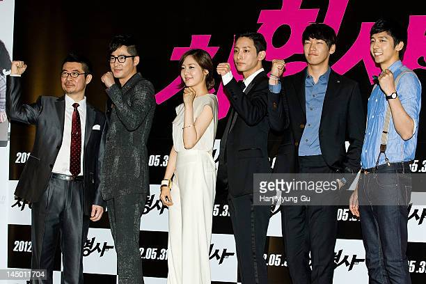 South Korean director Shin TaeRa and actors Kang JiHwanSung YouRiLee SooHyukKim YoungKwang and Shin MinChul attend the 'Runway Cop' press screening...