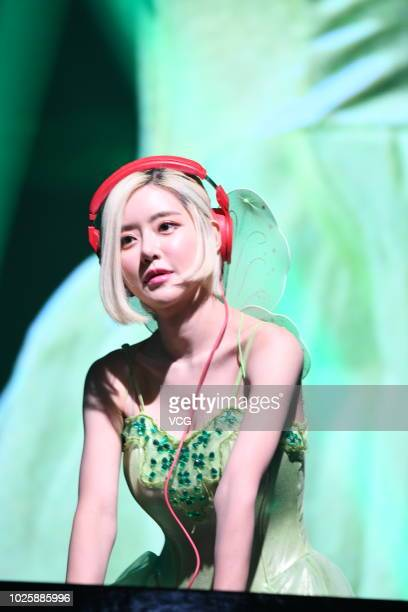South Korean DJ Soda dressed as Tinker Bell performs during the Hong Kong ESports And Music Festival on August 24 2018 in Hong Kong China