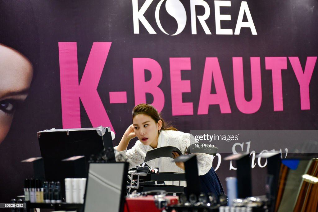 A South Korean exhibitor pictured during the Beauty Expo 2017 on October 6, 2017 at Kuala Lumpur Convention Centre, Malaysia. Beauty Expo 2017 is the highly anticipated annual event in Malaysia for all beauty professionals of the industry. Participants with over 200 international and local exhibiting companies from 25 partcipating countries including South Korea, Japan, China and Thailand.