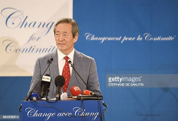 South Korean FIFA Honorary Vice President Chung MongJoon announces his candidacy for the upcoming FIFA presidential elections in February 2016 to...