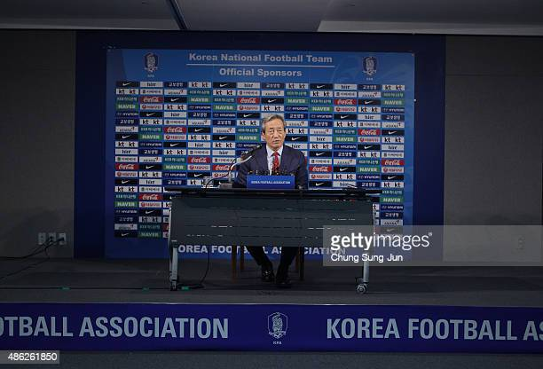 South Korean FIFA presidential candidate Chung MongJoon speaks at a press conference on September 3 2015 in Seoul South Korea Chung MongJoon accused...