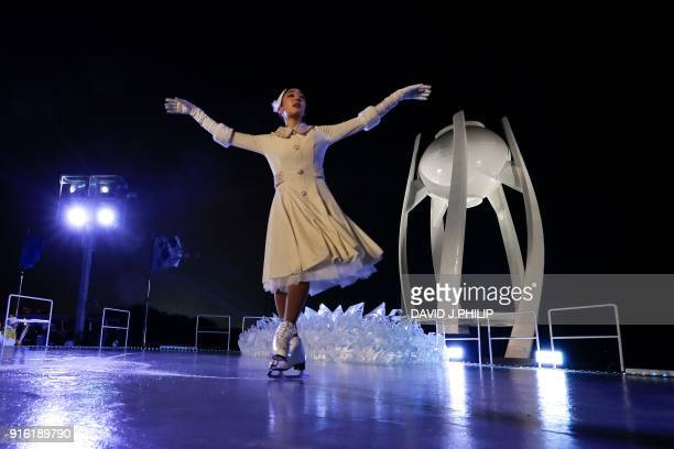 South Korean figure skater Kim Yuna performs during the opening ceremony of the Pyeongchang 2018 Winter Olympic Games at the Pyeongchang Stadium on...